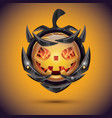 halloween pumpkin with fire flames on armor 3d vector image vector image