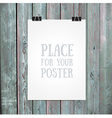 hanging paper sign on wood background vector image