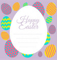 happy easter card template with colorful eggs vector image vector image