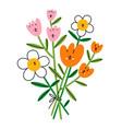happy flower characters bouquet vector image vector image