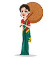 indian girl with umbrella vector image vector image