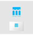 italy tour logo three arches blue background vector image vector image
