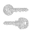 key made from circuit line on white background vector image vector image