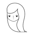 line cute woman head with hairstyle design vector image vector image