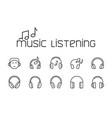 line music listening icons set on white background vector image