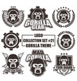 logo collection set with gorilla theme vector image vector image