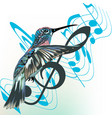 music background with notes treble clef and bird vector image vector image