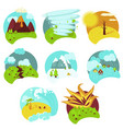 natural catastrophe icon set flat isolated vector image