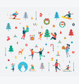 new year pattern people and holiday symbols vector image vector image