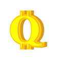 q letter bitcoin font cryptocurrency alphabet vector image vector image