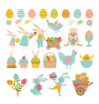 rabbits eggs and others symbols easter vector image