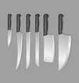 realistic detailed 3d butcher meat knives set vector image
