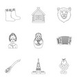russia country set icons in outline style big vector image vector image