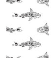seamless pattern of zentangle shark vector image