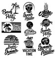 set of summer emblems with palms for emblem sign vector image