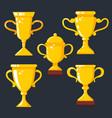 set winner cups in flat style design element vector image