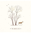 trees and deer stylization vector image vector image