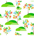 trees in bloom seamless pattern vector image vector image