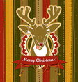Vintage Christmas card with Deer showing his vector image vector image