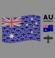 waving australia flag mosaic aircraft icons vector image vector image