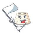 with flag fresh ricotta cheese on mascot cartoon vector image