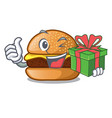 with gift cheese burger located on plate cartoon vector image vector image