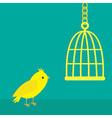 yellow canary bird golden birdcage cell green vector image