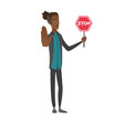 young african businessman holding stop road sign vector image vector image