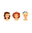 female hairstyle retro vector image
