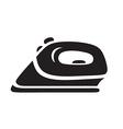 black steam iron icon on white background vector image