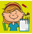 girl cartoon child notebook vector image