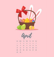 april 2018 year calendar page vector image vector image