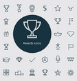 award outline thin flat digital icon set vector image