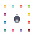 cake flat icons set vector image vector image