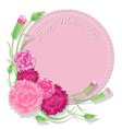 Carnation with pink background for Mothers Day vector image