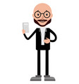 cartoon accountant holding a calculator on white vector image