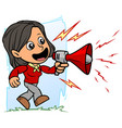 cartoon brunette girl character with red bullhorn vector image