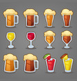 cartoon drinks glossy icons ans objects for your vector image