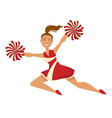 cheerleader in uniform with pompoms sport and vector image vector image