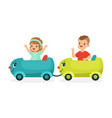 cute happy little boy and girl riding a train kid vector image vector image