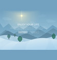 Day cartoon Winter Mountain Forest Landscape vector image vector image