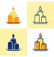 decorative candles on a plate icon set in flat and vector image vector image