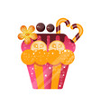 delicious creamy cupcake sweet pastry decorated vector image