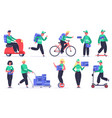 delivery characters courier postal workers vector image