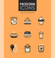 fast food - set line design style icons vector image