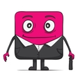 Funny cube dude businessman in suit Square vector image vector image