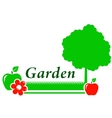 garden background with tree flower green grass vector image vector image