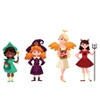 Girls dressed in Witch angel demon leprechaun vector image vector image