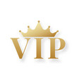 golden vip sign or emblem with crown vector image vector image