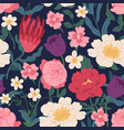 gorgeous seamless pattern with peony roses tulips vector image vector image
